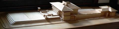 A wooden model of the Westcott House that I found in the a back room of the gift shop