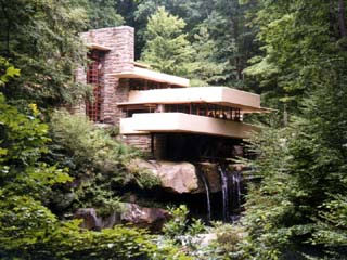 The most popular view of Fallingwater